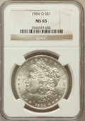 Morgan Dollars: , 1904-O $1 MS65 NGC. NGC Census: (15778/1470). PCGS Population(10561/864). Mintage: 3,720,000. Numismedia Wsl. Price for pr...