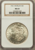 Morgan Dollars: , 1921 $1 MS65 NGC. NGC Census: (7848/556). PCGS Population(3945/364). Mintage: 44,690,000. Numismedia Wsl. Price forproble...