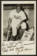 """Baseball Cards:Singles (1940-1949), 1948 Old Gold Cigarettes Jackie Robinson """"Kneeling In Dugout"""" PromoCard. . ..."""