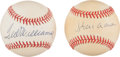Baseball Collectibles:Balls, Hank Aaron and Ted Williams Single Signed Baseballs Lot of 2....