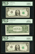 Error Notes:Miscellaneous Errors, Fr. 1909-E $1 1977 Federal Reserve Notes. Three Consecutive Examples. PCGS Very Choice New 64PPQ-Gem New 65PPQ.. ... (Total: 3 notes)