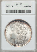Morgan Dollars: , 1879 $1 MS65 ANACS. NGC Census: (676/102). PCGS Population(959/116). Mintage: 14,807,100. Numismedia Wsl. Price for proble...
