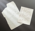 Other:European, TWO LETTERS FROM RENOIR TO ALINE CONFIRMING HIS SAFE ARRIVAL[LIKELY IN ALGIERS] AND HIS PLANS TO EXPLORE THE NEW COUNTRY . ...(Total: 2 Items)