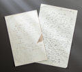 Other:European, TWO LETTERS FROM RENOIR TO ALINE WRITING FROM THE HOUSE OF MADAMELAFON AT BALANS-PRÈS-BRANTÔME. THE RENOIR COLLECTION. ... (Total: 2Items)