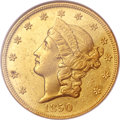 Liberty Double Eagles, 1850-O $20 MS60 NGC. Variety 3....