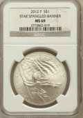 Modern Issues, 2012-P $1 Star-Spangled Banner MS69 NGC. PCGS Population (255/260).Numismedia Wsl. Price for problem f...