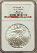 Modern Bullion Coins, 2005 $1 One Ounce Silver Eagle First Strike MS69 NGC. NGC Census:(0/0). PCGS Population (42294/333)....