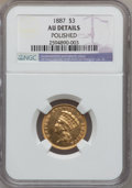 Three Dollar Gold Pieces: , 1887 $3 -- Polished -- NGC Details. AU. NGC Census: (2/184). PCGSPopulation (4/263). Mintage: 6,000. Numismedia Wsl. Price...