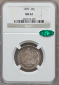 Seated Quarters: , 1890 25C MS62 NGC. CAC. NGC Census: (7/145). PCGS Population(23/136). Mintage: 80,000. Numismedia Wsl. Price for problem f...
