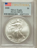 Modern Bullion Coins, 2008 $1 One Ounce Silver Eagle First Strike MS70 PCGS. PCGSPopulation (10757). NGC Census: (4152)....