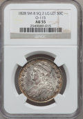 Bust Half Dollars, 1828 50C Square Base 2, Small 8, Large Letters, O-115, R.2 AU55NGC. NGC Census: (38/94). PCGS Population (84/149)....