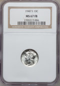 Mercury Dimes: , 1940-S 10C MS67 Full Bands NGC. NGC Census: (86/2). PCGS Population(138/4). Mintage: 21,560,000. Numismedia Wsl. Price for...