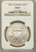 Modern Issues, 2009-P $1 Braille MS69 NGC. NGC Census: (1816/1522). PCGSPopulation (1283/465). Numismedia Wsl. Price for problem free NG...