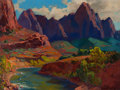 Western, FRANZ A. BISCHOFF (Austrian, 1864-1929). Cathedral Point,Utah. Oil on canvas. 30 x 40 inches (76.2 x 101.6 cm). Signed...