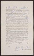 Hockey Collectibles:Others, 1951-52 Maurice Rocket Richard Multi Signed Lease....