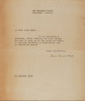 """Autographs:Authors, American Novelist James Branch Cabell (1879-1958) Typed Letter Signed """"James Branch Cabell"""". One page, 6"""" x 7"""", on his R..."""