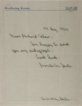 """Autographs:Authors, American Writer MacKinlay Kantor (1904-1977) Autograph Letter Signed """"MacKinlay Kantor"""". One page, 8.5"""" x 11"""", on his pe..."""