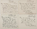 "Autographs:Authors, English Author Sir Anthony Hope Hawkins (1863-1933) Lot of FourAutograph Notes, 1896-98. Each on his personal 4.5"" x 3.5"" n..."