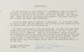 "Autographs:Authors, Arthur Miller Typed Quote Signed ""Arthur Miller"". One page,8"" x 5"", undated. The noted author signs a typed quote from ..."