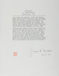 "Autographs:Authors, James A. Michener Typed Quote Signed ""James A. Michener"". One page, 8.5"" x 11"", November 18, 1979. The author signs a sh..."