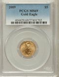 Modern Bullion Coins, 2009 $5 Tenth-Ounce Gold Eagle MS69 PCGS. PCGS Population (211/21).NGC Census: (1025/604). Numismedia Wsl. Price for prob...