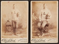 Football Cards:Singles (Pre-1950), Rare 1880's Lafayette College U.S. Rugby Cabinet Photos Pair (2). ...