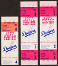 Baseball Collectibles:Tickets, 1977 World Series Full Tickets and Stub Lot of 3 - Yankees OverDodgers....