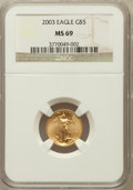 Modern Bullion Coins, 2003 G$5 Tenth-Ounce Gold Eagle MS69 NGC. NGC Census: (6827/3571).PCGS Population (8440/386). Numismedia Wsl. Price for p...
