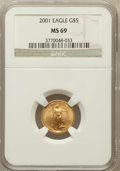 Modern Bullion Coins: , 2001 G$5 Tenth-Ounce Gold Eagle MS69 NGC. NGC Census: (5897/3365).PCGS Population (2255/38). Numismedia Wsl. Price for pr...