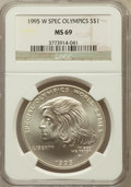 Modern Issues: , 1995-W $1 Special Olympics Silver Dollar MS69 NGC. NGC Census:(646/209). PCGS Population (1024/95). Numismedia Wsl. Price...