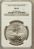 Modern Issues: , 1994-W $1 P.O.W. Silver Dollar MS69 NGC. NGC Census: (1117/619).PCGS Population (1685/402). Mintage: 54,790. Numismedia Ws...