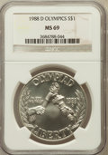Modern Issues: , 1988-D $1 Olympic Silver Dollar MS69 NGC. NGC Census: (1853/67).PCGS Population (2000/60). Mintage: 191,000. Numismedia Ws...