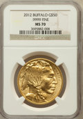Modern Bullion Coins, 2012 G$50 One-Ounce Gold American Buffalo, MS70 NGC. .9999 Fine.NGC Census: (2540). PCGS Population (2771). Numismedia Ws...