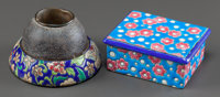 A LONGWY POTTERY COVERED BOX AND MATCH STRIKER Early 20th century Marks: LONGWY, Made in France</
