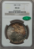 Morgan Dollars: , 1881-S $1 MS66 NGC. CAC. NGC Census: (16056/4172). PCGS Population(12167/1743). Mintage: 12,760,000. Numismedia Wsl. Price...