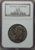 Bust Half Dollars, 1832 50C Small Letters, O-103, R.1 AU55 NGC. NGC Census: (281/943).PCGS Population (331/651). Mintage: 4,797,000. Numismed...