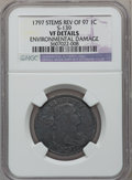 Large Cents, 1797 1C Reverse of 1797, Stems, S-139, B-21, R.1 -- EnvironmentalDamage -- NGC Details. VF. PCGS Popula...