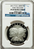 Modern Issues, 2011-P $1 U.S. Army, Early Releases PR69 Ultra Cameo NGC. NGCCensus: (1243/1525). PCGS Population (404/106)....