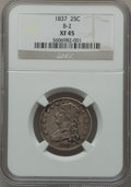 Bust Quarters, 1837 25C B-2, R.1 XF45 NGC. NGC Census: (22/160). PCGS Population (27/133). Mintage: 252,400. Numismedia Wsl. Price for pro...