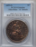 Seated Dollars, 1859-O $1 -- Filed Rims -- PCGS Genuine. AU Details. PCGSPopulation (43/563). NGC Census: (18/430). Mintage: 360,000.Numi...