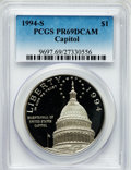 Modern Issues: , 1994-S $1 U.S. Capitol Silver Dollar PR69 Deep Cameo PCGS. PCGSPopulation (1668/94). NGC Census: (1536/44). Mintage: 279,4...