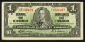 Canadian Currency: , BC-21b $1 1937 Narrow Panel. ...