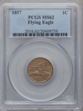 Flying Eagle Cents: , 1857 1C MS62 PCGS. PCGS Population (407/1946). NGC Census:(303/1645). Mintage: 17,450,000. Numismedia Wsl. Price for probl...