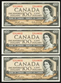 Canadian Currency: , BC-43b $100 1954 Three Consecutive Examples. ... (Total: 3 notes)