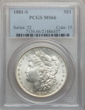 Morgan Dollars: , 1881-S $1 MS66 PCGS. PCGS Population (12167/1743). NGC Census:(16056/4172). Mintage: 12,760,000. Numismedia Wsl. Price for...