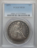 Seated Dollars: , 1871 $1 VF35 PCGS. PCGS Population (68/653). NGC Census: (21/495).Mintage: 1,074,760. Numismedia Wsl. Price for problem fr...