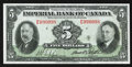 Canadian Currency: , Toronto, ON- Imperial Bank of Canada $5 Nov. 1, 1934 Ch. #375-22-02. ...