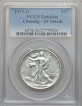 Walking Liberty Half Dollars: , 1919-D 50C -- Cleaned -- PCGS Genuine. XF Details. NGC Census:(12/364). PCGS Population (24/377). Mintage: 1,165,000. Numi...