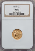 Indian Quarter Eagles: , 1913 $2 1/2 MS62 NGC. NGC Census: (3756/2754). PCGS Population(1673/2075). Mintage: 722,000. Numismedia Wsl. Price for pro...