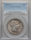 Barber Half Dollars: , 1909-O 50C AU55 PCGS. PCGS Population (14/58). NGC Census: (5/55).Mintage: 925,400. Numismedia Wsl. Price for problem free...